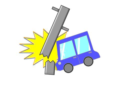 A car hitting a utility pole