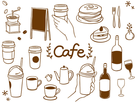Cafe fashionable hand-drawn material set 2
