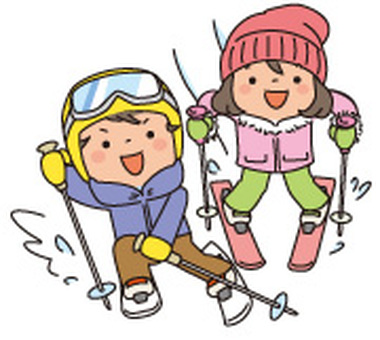 Two children skiing skiing