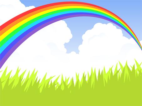 Prairie and rainbow bridge (7 colored rainbows) Rainbow clear
