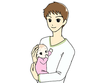 Daddy holding baby_upper body③