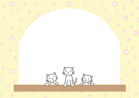 Cats on the window frame Cherry blossoms ②