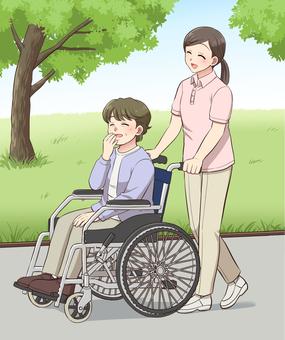 車椅子の散歩