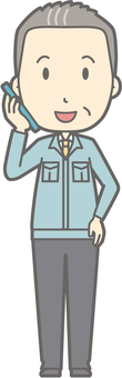 Middle-aged man work clothes - smart talking - whole body