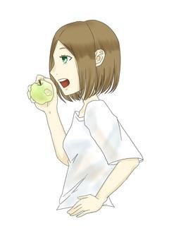 파란 사과를 갉아
