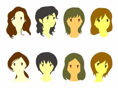 Eight female illustrations [flat]