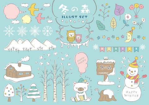 Winter forest illustration set