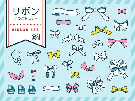 Ribbon icon illustration set <01>