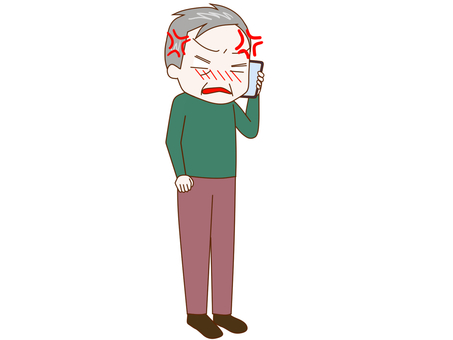 An old man talking while angry on a smartphone