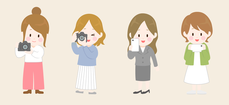 Illustration of a woman taking a picture with a camera
