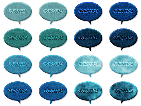 Denim speech bubble set