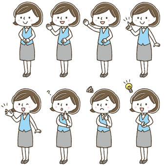 Cute female clerk facial expression pose set