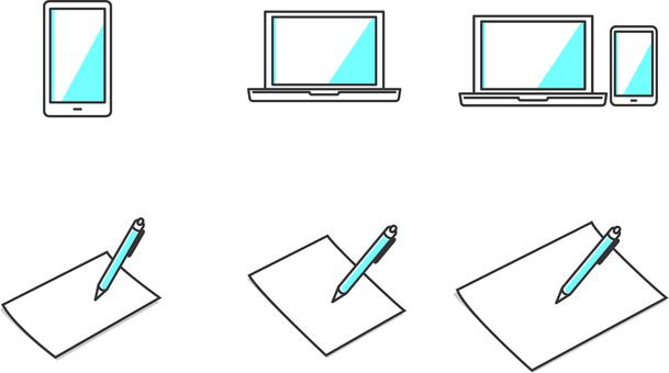 파란 PC와 종이에 기입 아이콘 세트