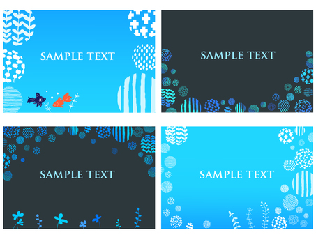 Goldfish and aquatic grass blue background set