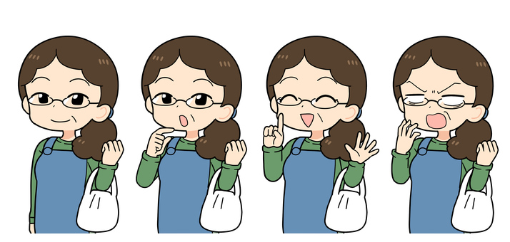 Middle-aged woman (housewife, aunt) facial expression set