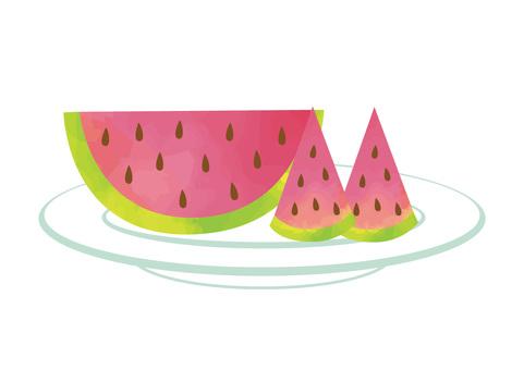 Illustration of cut watermelon