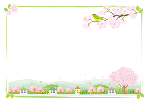 Cherry blossoming town frame