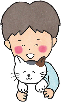 Cats and boys (hugging)