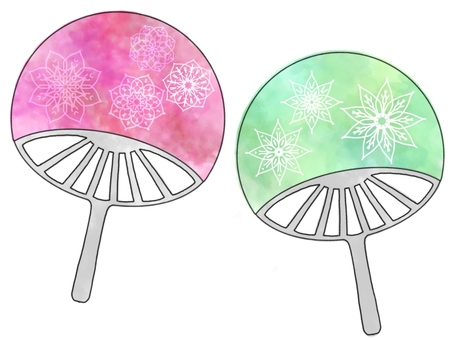 Watercolor style floral fan set (with black frame)