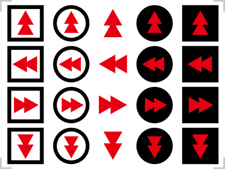Arrow icon up / down / left / right set black, red