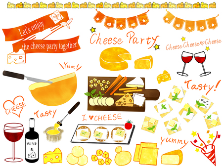Cheese party watercolor style