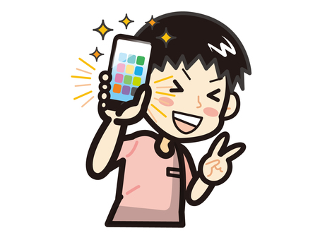 A man who rejoices with a new smartphone