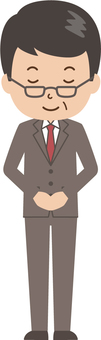 Middle-aged man   salaried worker   suit   bow