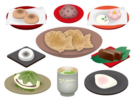 Illustration of Japanese sweets