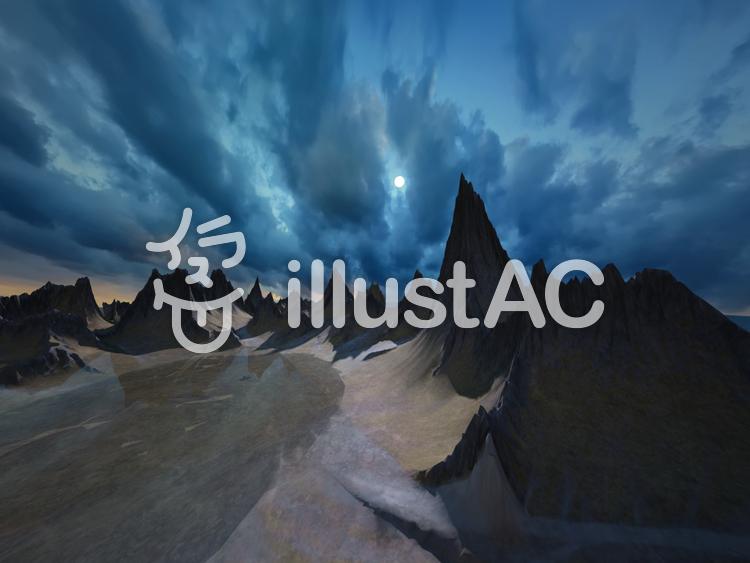 巨大山脈と澄んだ透明な湖のイラスト