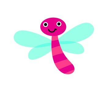 Pink dragonfly with motion