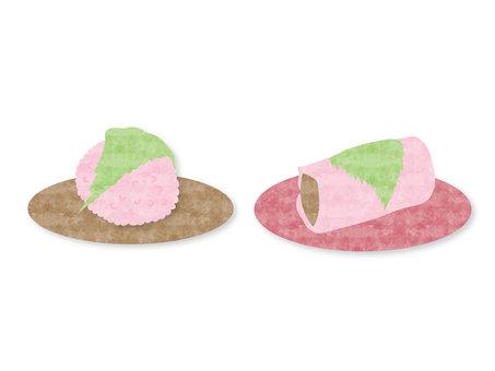 兩種類型的水彩風格櫻桃三文魚
