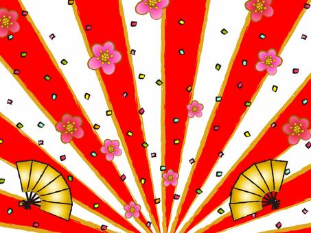 일본식 소재 일출 색종이 배경 복사