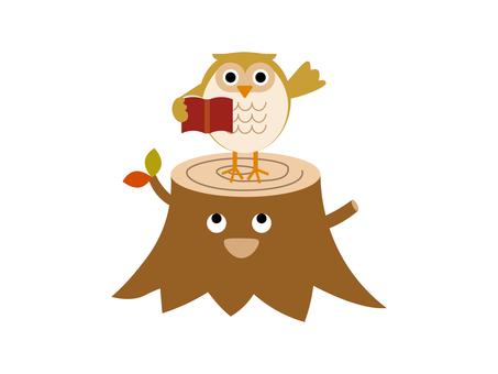 Illustration of owl and stump