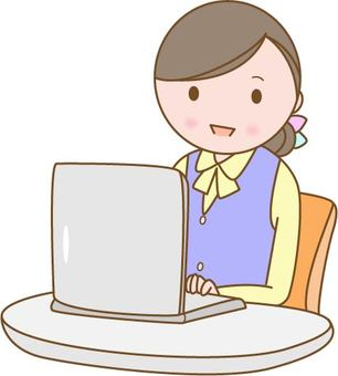 Female, typing, computer