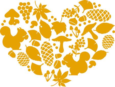 Autumn silhouette heart motif