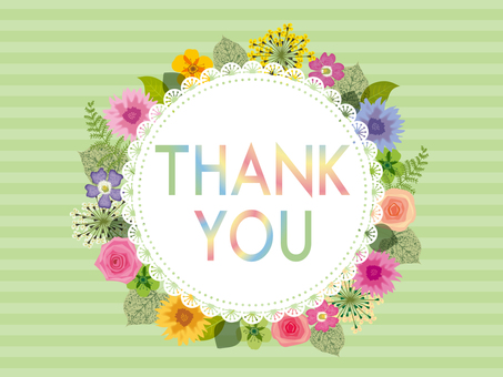THANK YOU card _ flower green