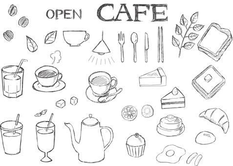 Hand drawn cafe 02 black
