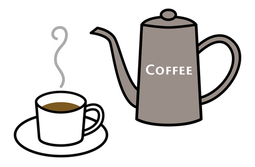 Coffee cup and coffee pot