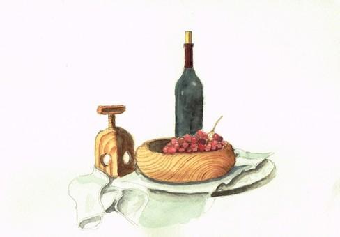 Wine bottle grape watercolor