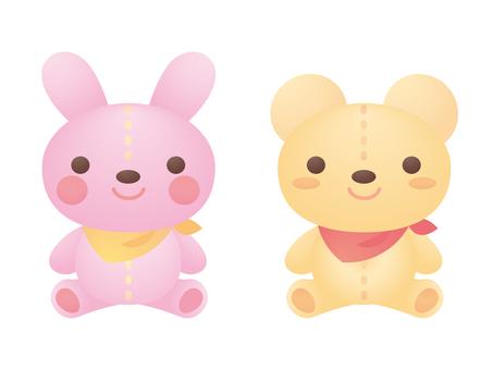 Rabbit and bear stuffed toy