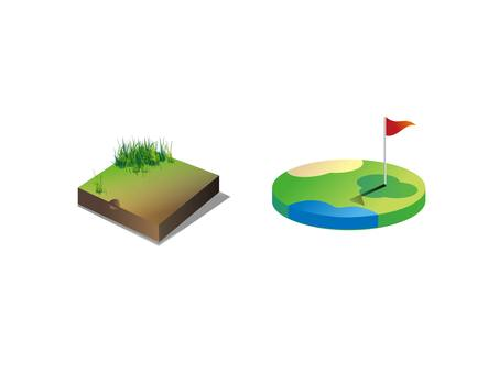 Land and golf course icon