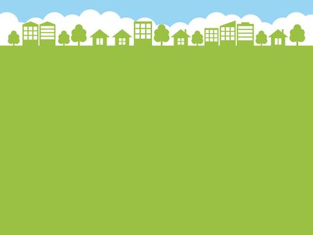 街 街並み 背景 黄緑