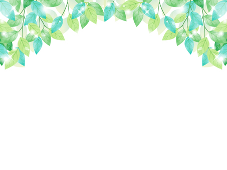 Fresh green / watercolor style frame 02 / transparent PNG