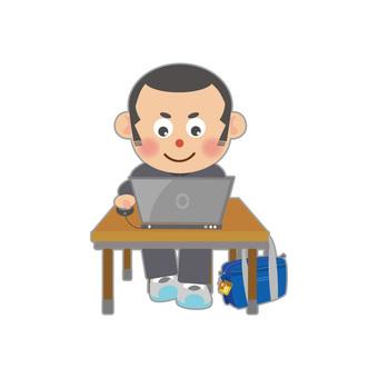 Male student using personal computer (Shobo)