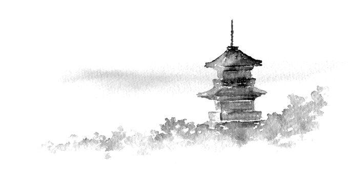 A landscape where a temple can be seen An ink style picture