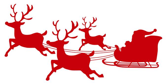 Reindeer · Santa Silhouette Red
