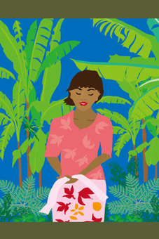 Tropical women with pink clothes and banana tree