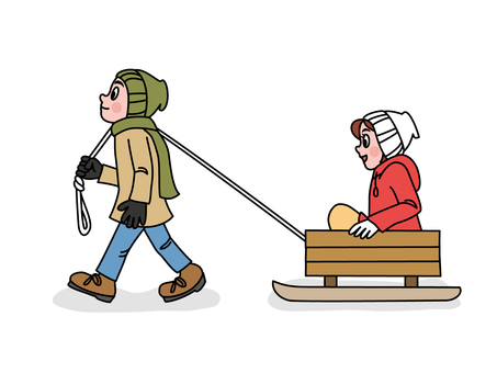 Lovers playing with sled