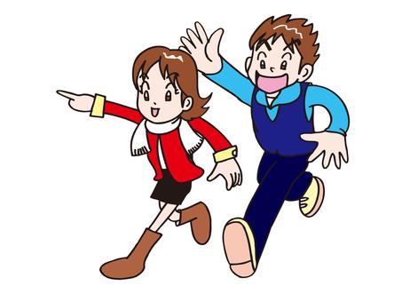 달리는 남녀