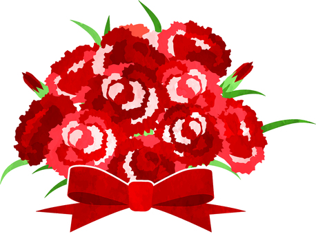 수채화 풍의 붉은 카네이션 꽃다발 투과 알리
